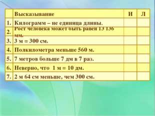 7. 6. 5. 4. 3. 2. 1. 2 м 64 см меньше, чем 300 см. Неверно, что 1 м = 10 дм.