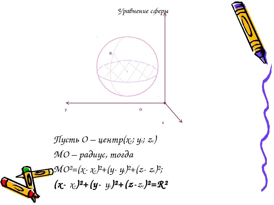 Пусть О – центр(х0; y0; z0) MО – радиус, тогда MО²=(x- х0)²+(y- y0)²+(z- z0)²...