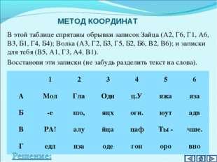 МЕТОД КООРДИНАТ В этой таблице спрятаны обрывки записок Зайца (А2, Г6, Г1, А6
