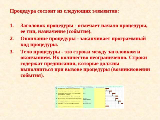 Процедура состоит из следующих элементов: Заголовок процедуры - отмечает нача...