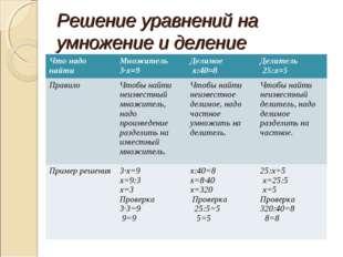 Решение уравнений на умножение и деление Что надо найтиМножитель 3∙х=9Дели