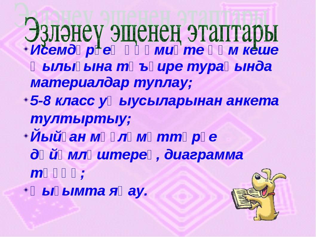 Исемдәрҙең әһәмиәте һәм кеше ҡылығына тәъҫире тураһында материалдар туплау; 5...