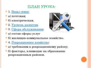 ПЛАН УРОКА: 1. Виды связи: а) почтовая; б) электрическая. 2. Уровень развития
