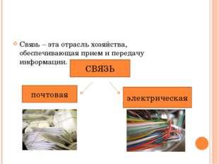 Связь – эта отрасль хозяйства, обеспечивающая прием и передачу информации. СВ