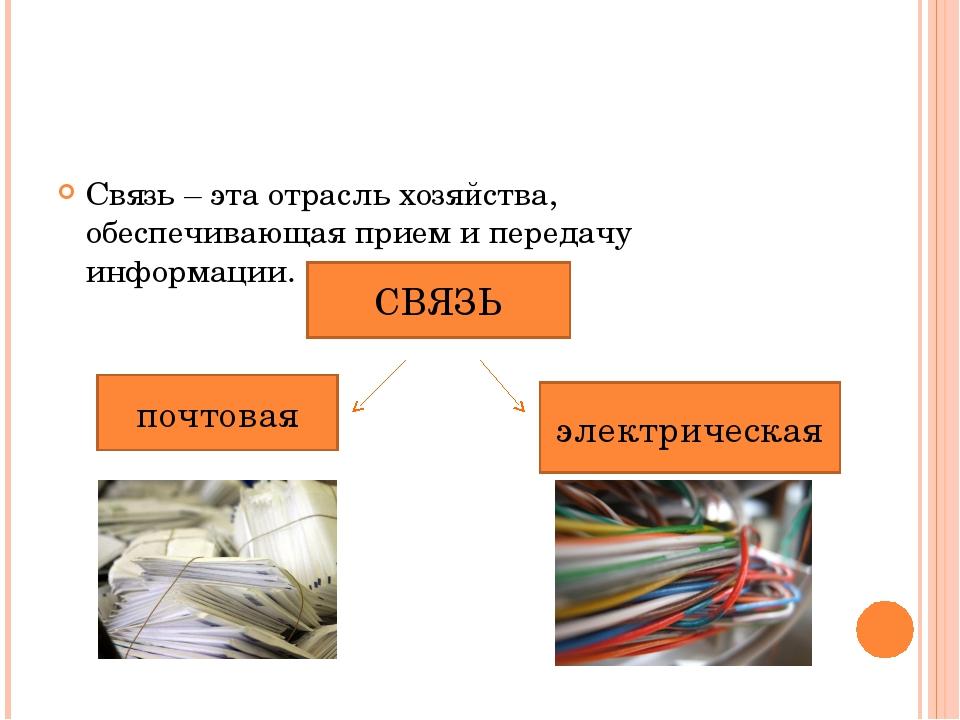 Связь – эта отрасль хозяйства, обеспечивающая прием и передачу информации. СВ...