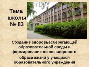 Тема школы № 83 Создание здоровьесберегающей образовательной среды и формиров
