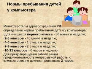 Нормы пребывания детей у компьютера Министерством здравоохранения РФ определе