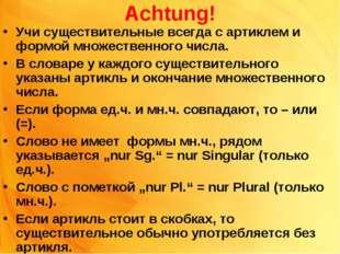 Achtung! Учи существительные всегда с артиклем и формой множественного числа.