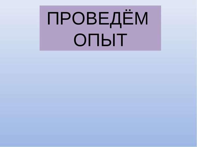 ПРОВЕДЁМ ОПЫТ