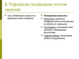 8. Рефлексия (подведение итогов занятия) Цель: Мобилизация учащихся на рефлек