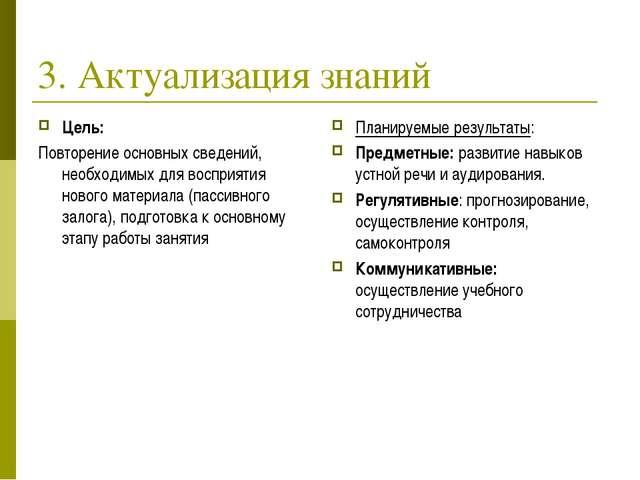 3. Актуализация знаний Цель: Повторение основных сведений, необходимых для во...