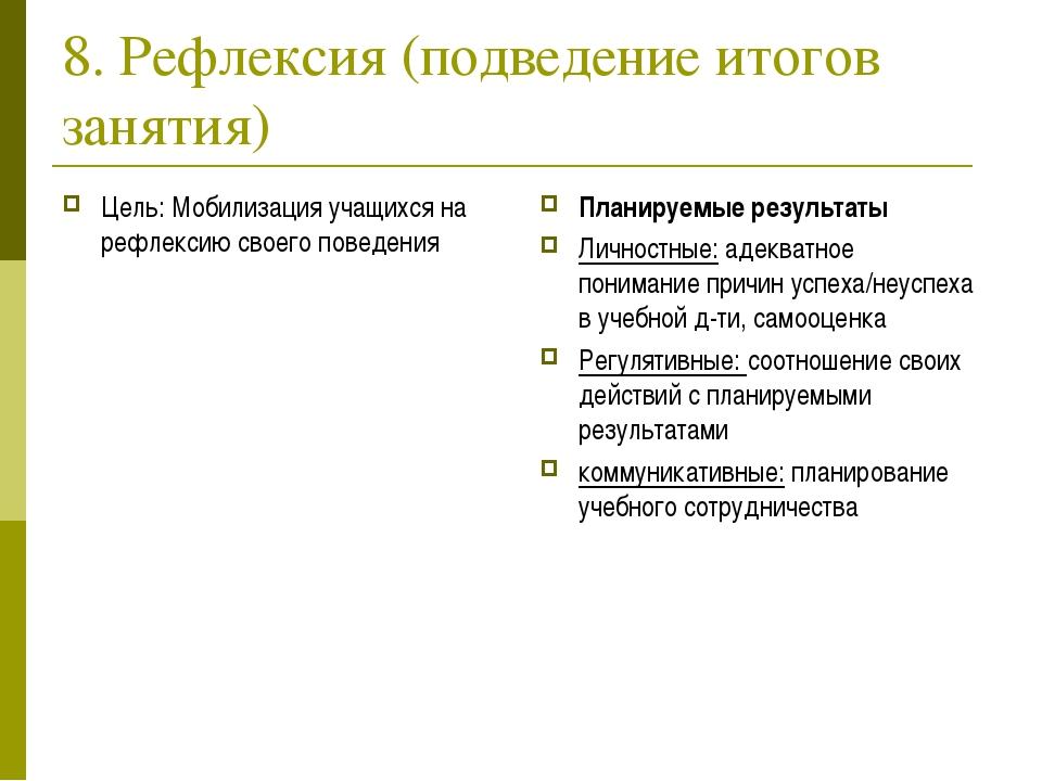 8. Рефлексия (подведение итогов занятия) Цель: Мобилизация учащихся на рефлек...