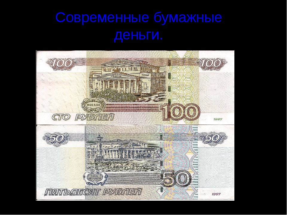 Современные бумажные деньги.