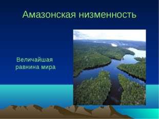 Амазонская низменность Величайшая равнина мира