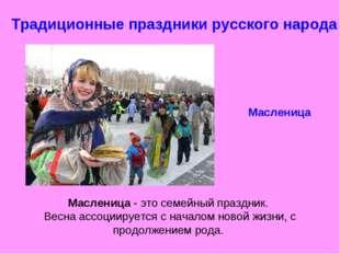 Традиционные праздники русского народа Масленица Масленица - это семейный пра