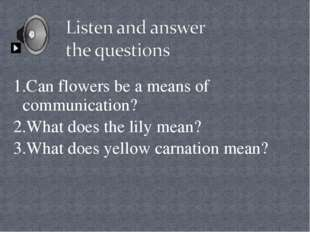 1.Can flowers be a means of communication? 2.What does the lily mean? 3.What