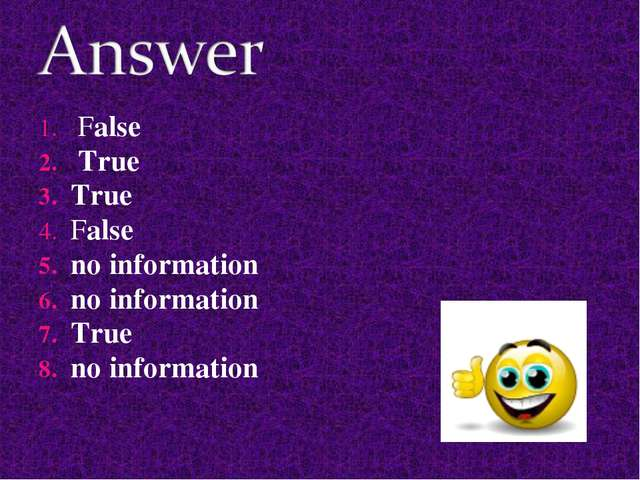False True True False no information no information True no information