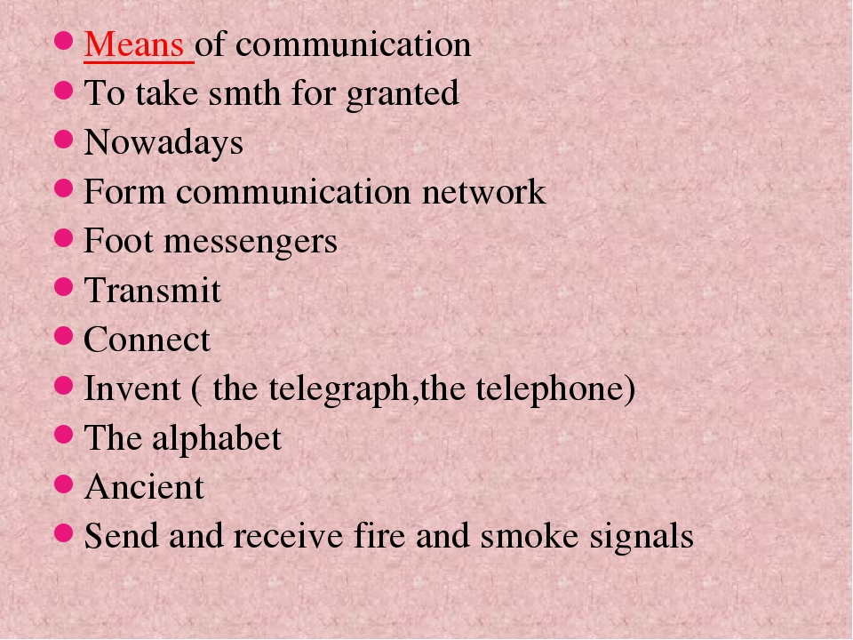 Means of communication To take smth for granted Nowadays Form communication n...
