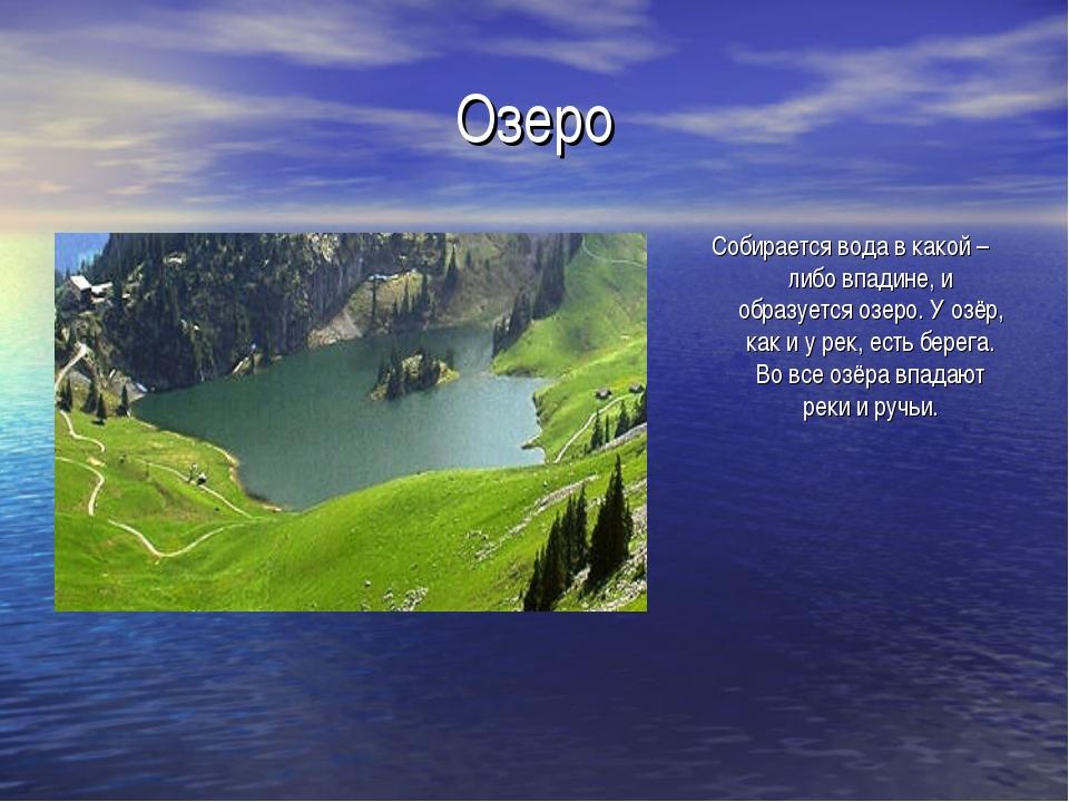 Озеро Собирается вода в какой – либо впадине, и образуется озеро. У озёр, как...