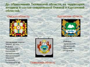 До образования Тюменской области, ее территория входила в состав современной