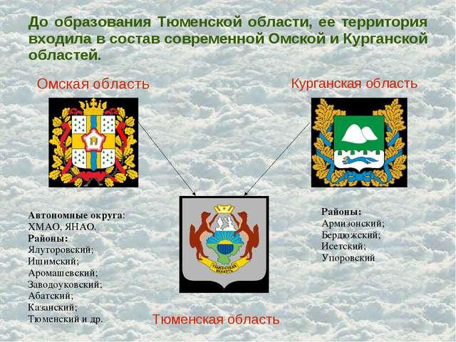 До образования Тюменской области, ее территория входила в состав современной...