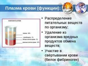Плазма крови (функции): Распределение питательных веществ по организму; Удале