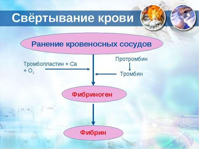 Ранение кровеносных сосудов Фибрин Фибриноген Тромбопластин + Са + О2 Протром...