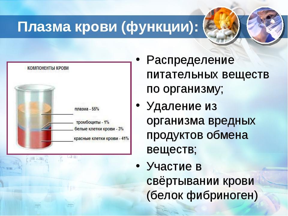 Плазма крови (функции): Распределение питательных веществ по организму; Удале...