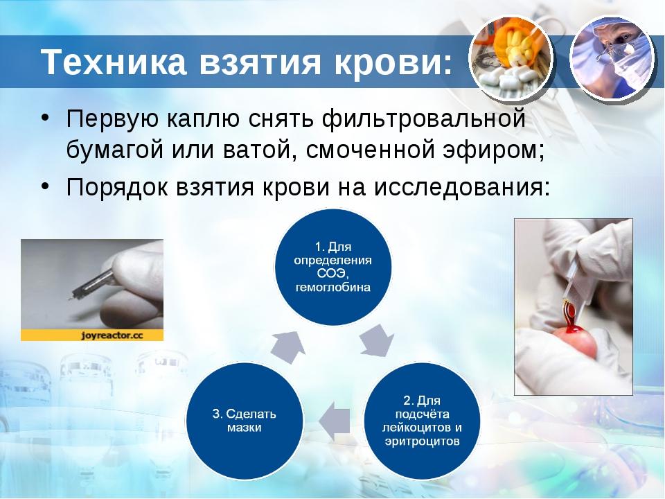 Техника взятия крови: Первую каплю снять фильтровальной бумагой или ватой, см...