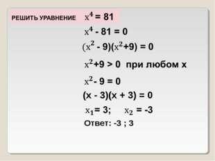 (х - 3)(х + 3) = 0 Ответ: -3 ; 3