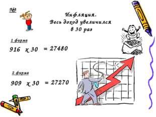 Инфляция. Весь доход увеличился в 30 раз = 27480 916 = 27270 909 1 фирма 2 ф