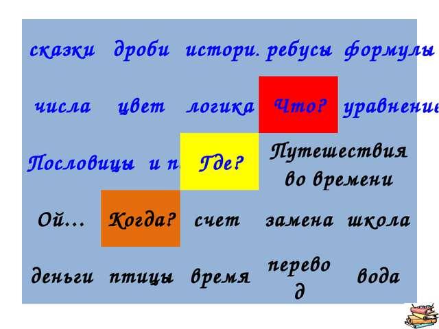 сказкидробиисторияребусыформулы числацветлогикаЧто?уравнение Пословиц...