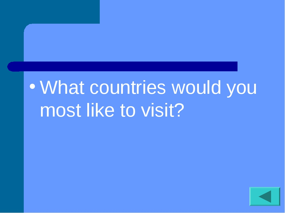 What countries would you most like to visit?