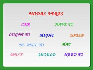 MODAL VERBS CAN MIGHT HAVE TO COULD OUGHT TO NEED TO MUST SHOULD MAY BE ABLE TO