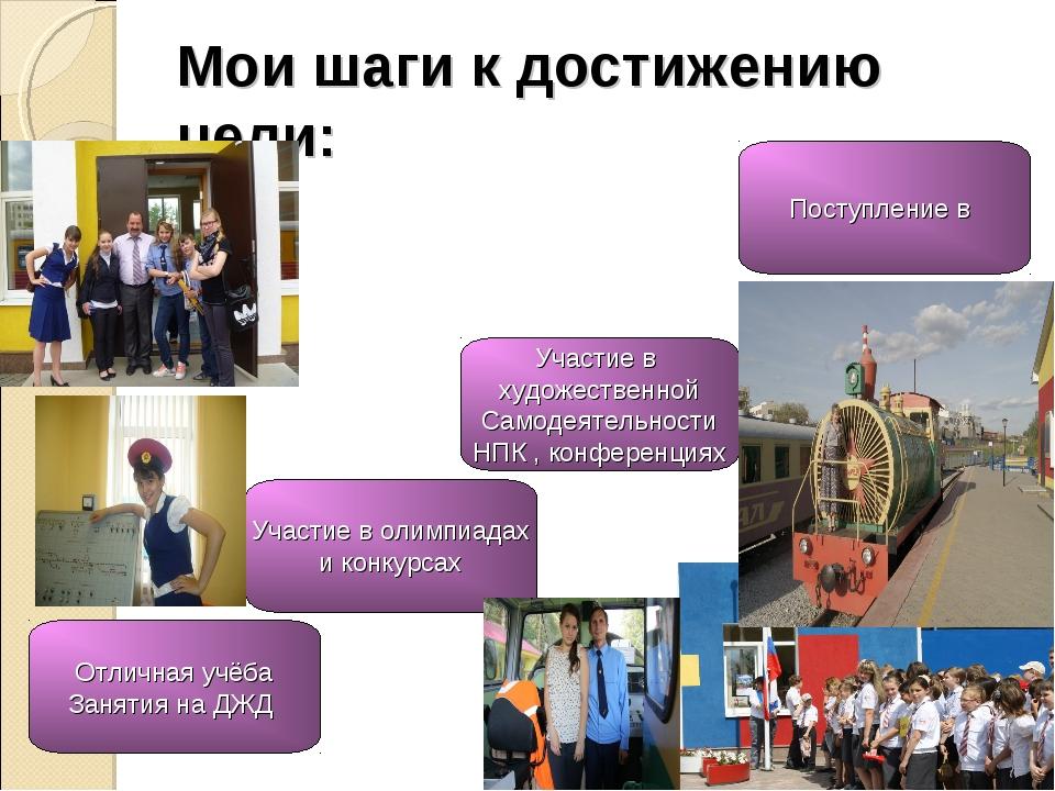 Мои шаги к достижению цели: Отличная учёба Занятия на ДЖД Участие в олимпиада...
