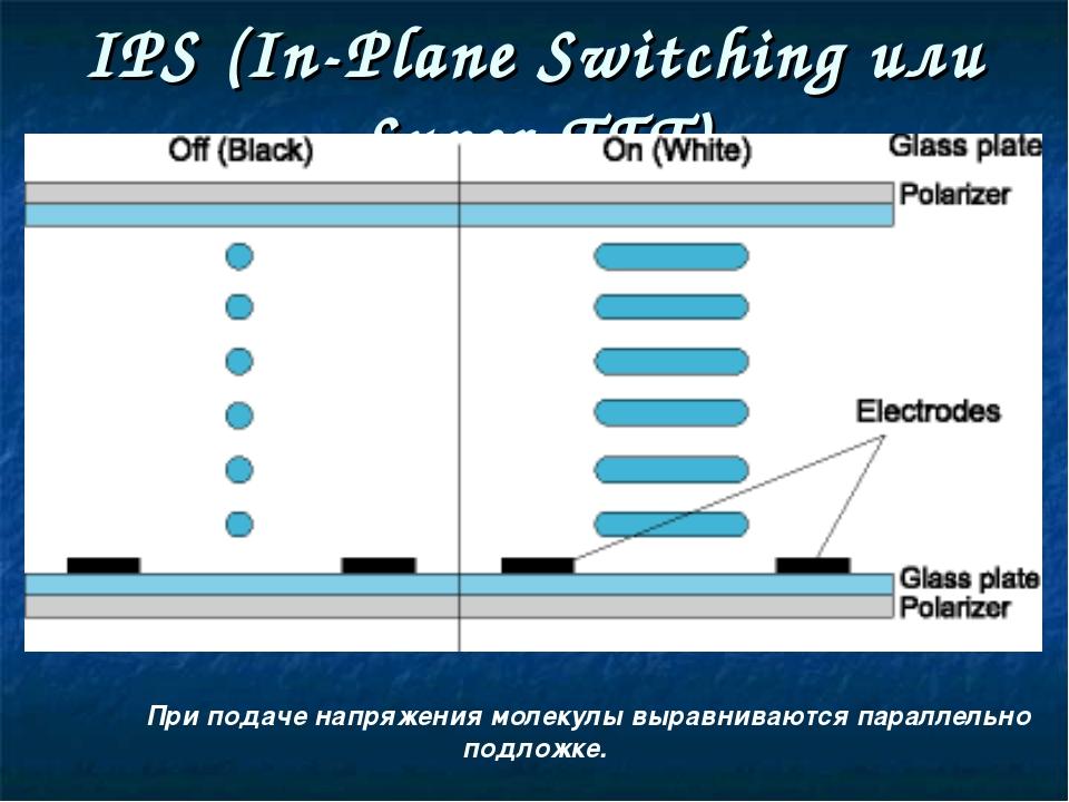 IPS (In-Plane Switching или Super-TFT) При подаче напряжения молекулы вырав...