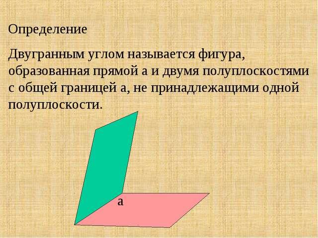 Двугранным углом называется фигура, образованная прямой а и двумя полуплоскос...