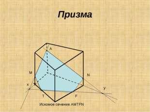 Призма A M N x y T F Искомое сечение AMTFN