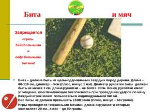 Бита и мяч Бита – должна быть из цельнодеревянных твердых пород дерева. Длин