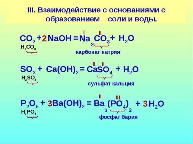 III. Взаимодействие с основаниями с образованием соли и воды. СO2 СO3 + NaOН...