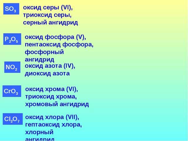 оксид фосфора (V), пентаоксид фосфора, фосфорный ангидрид оксид серы (VI), тр...