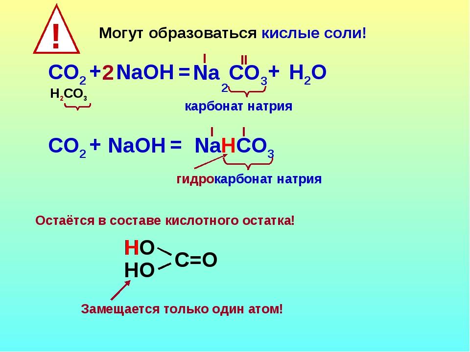 Могут образоваться кислые соли! СO2 НСO3 + NaOН = I гидрокарбонат натрия Na I...