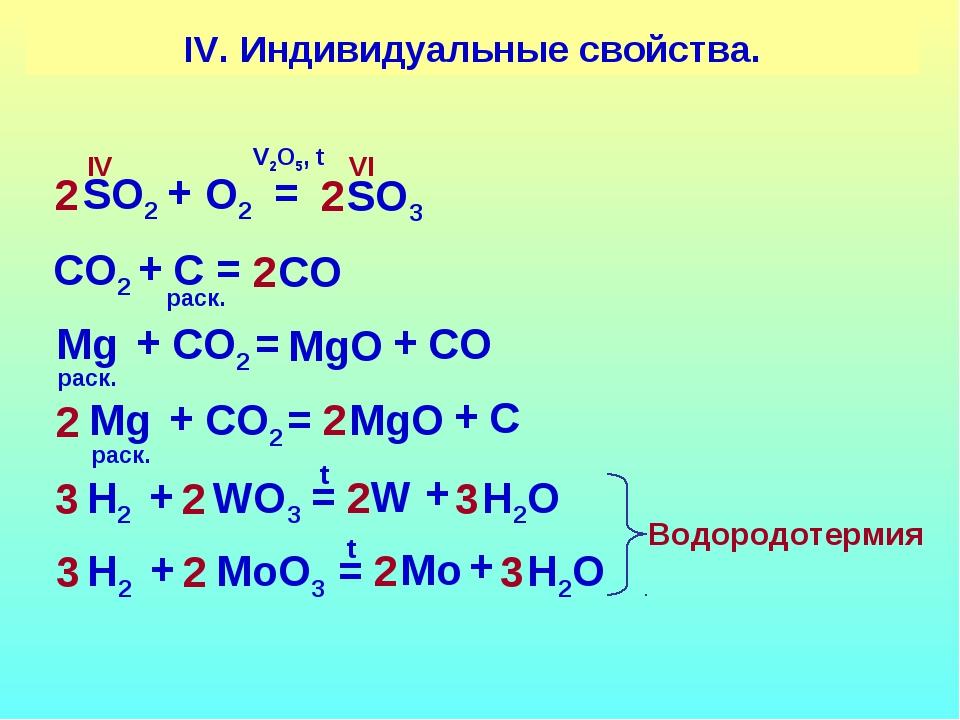 IV. Индивидуальные свойства. SO2 SO3 + O2 = VI IV 2 2 V2O5, t CO2 CO + C = 2...