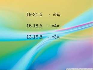 19-21 б. - «5» 16-18 б. - «4» 13-15 б. - «3»