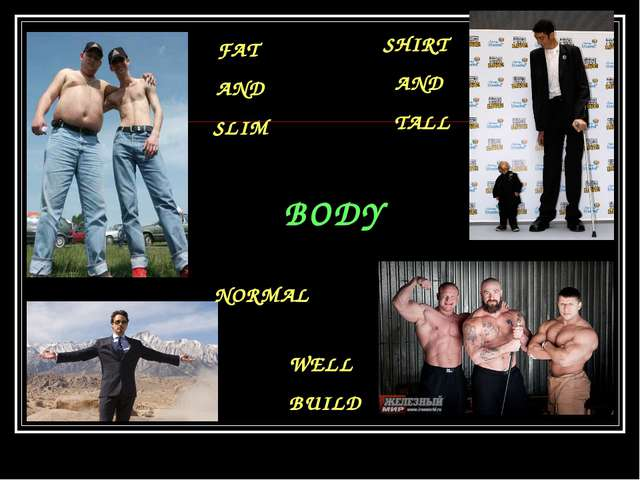 BODY FAT AND SLIM SHIRT AND TALL NORMAL WELL BUILD