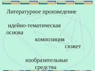 Литературное произведение идейно-тематическая основа композиция  сюж