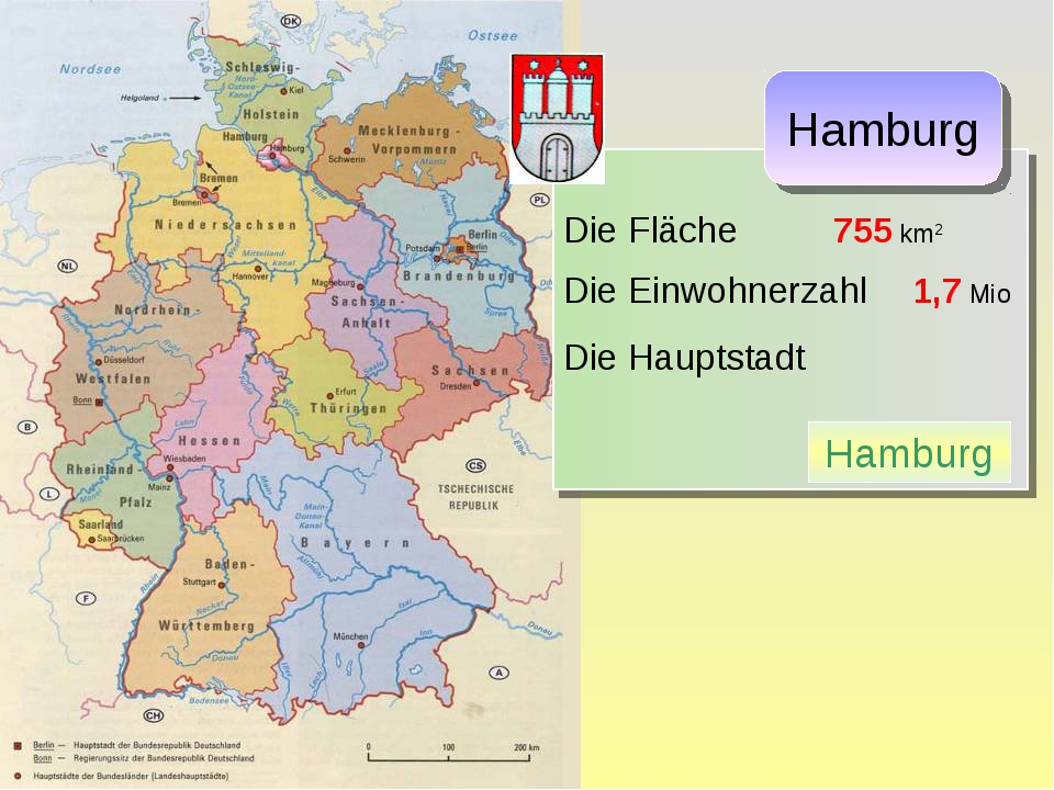 Die Fläche 755 km2 Die Einwohnerzahl 1,7 Mio Die Hauptstadt Hamburg Hamburg
