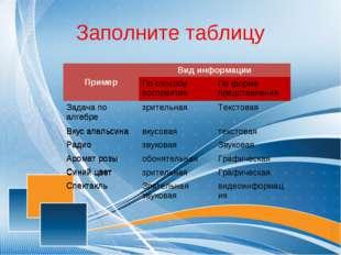 Заполните таблицу ПримерВид информации По способу восприятияПо форме предс