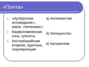 «Почта» «Аусбургское исповедание», кирха, «Катехизис» Варфоломеевская ночь, г
