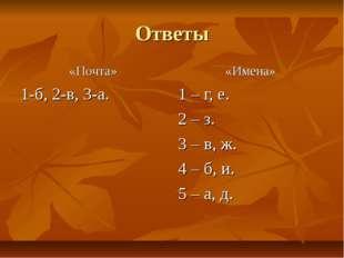 Ответы «Почта» 1-б, 2-в, 3-а. «Имена» 1 – г, е. 2 – з. 3 – в, ж. 4 – б, и. 5